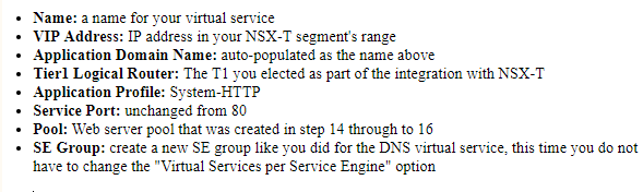 nsx-alb settings required for virtual service