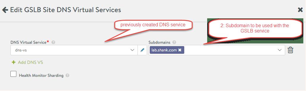 nsx-alb configure DNS virtual service for GSLB