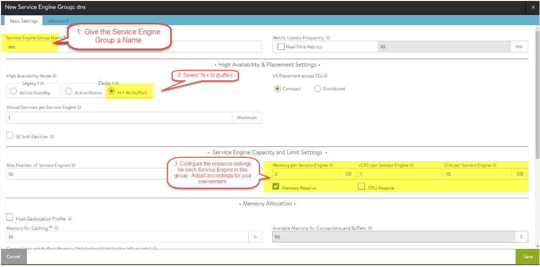 nsx-alb configure Service Engine (SE) group settings